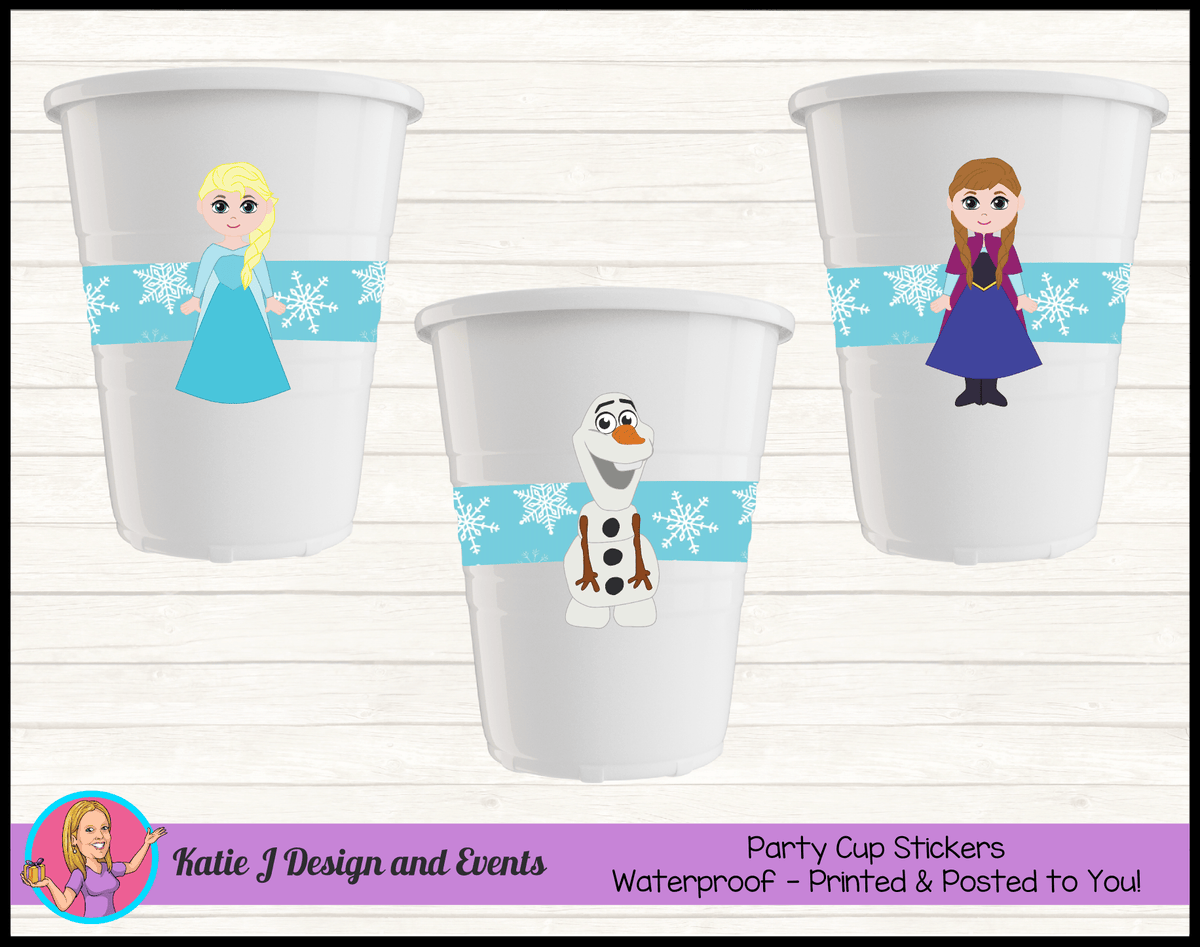 Personalised Little Frozen Birthday Party Cup Stickers Cups