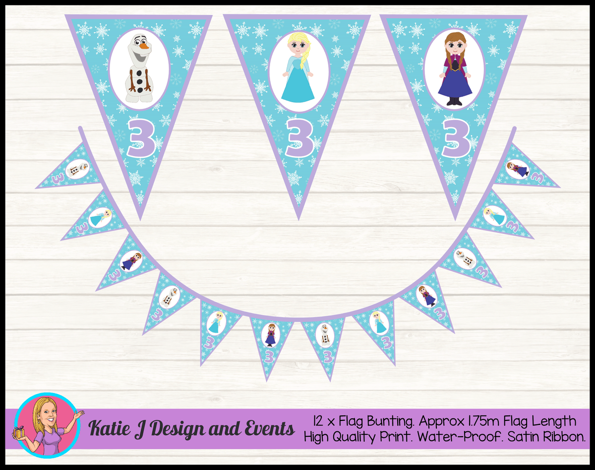 Personalised Little Frozen Birthday Party Flag Bunting