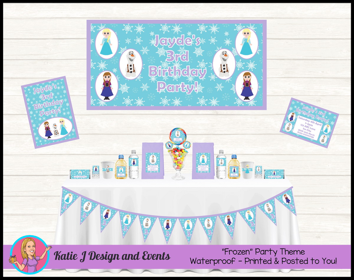 Personalised Little Frozen Party Packs Decorations Supplies