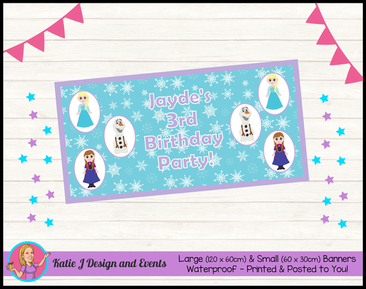 Personalised Little Frozen Birthday Party Banner