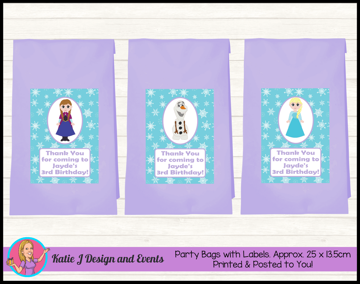 Personalised Little Frozen Birthday Party Loot Bags