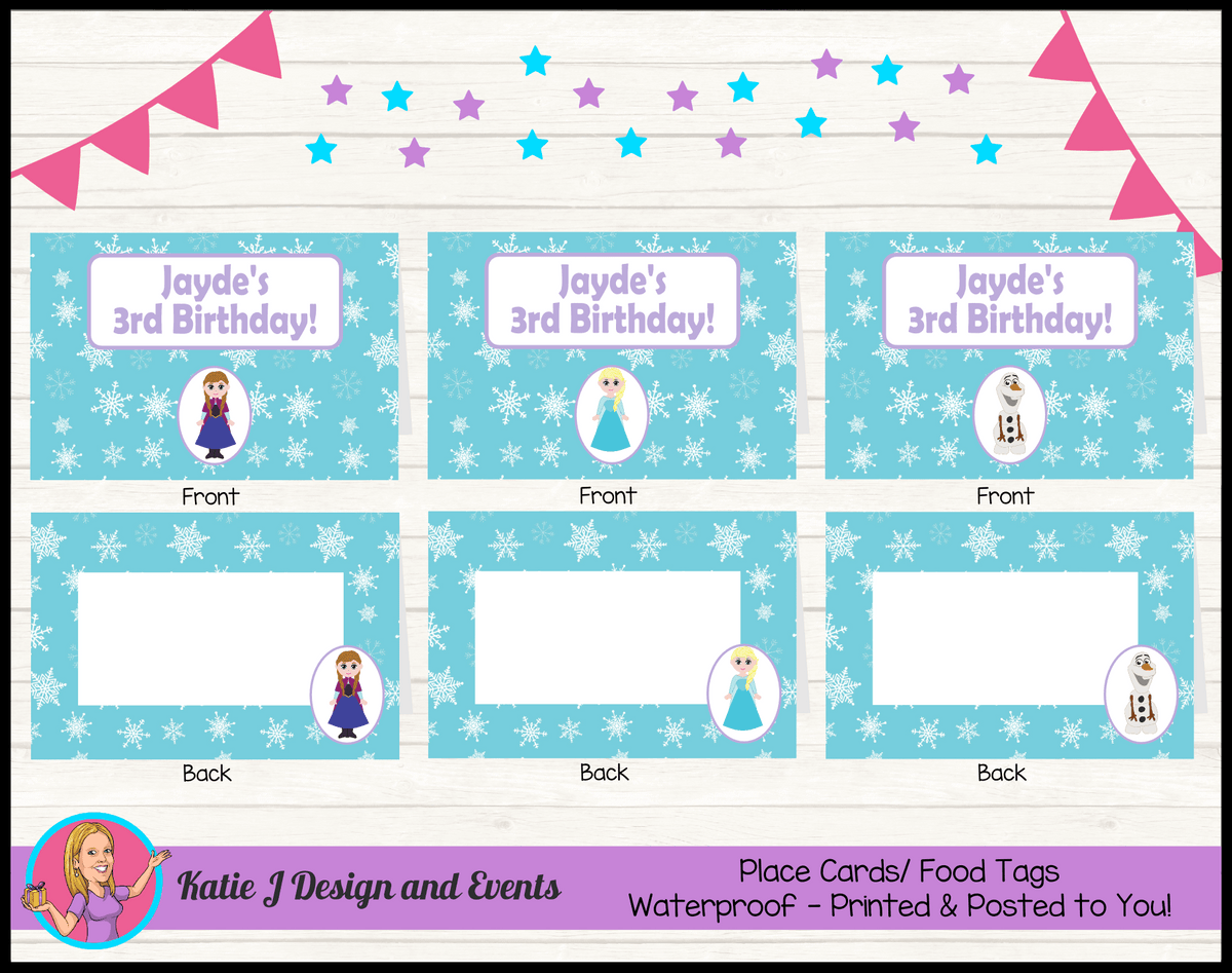 Personalised Little Frozen Birthday Party Place Cards