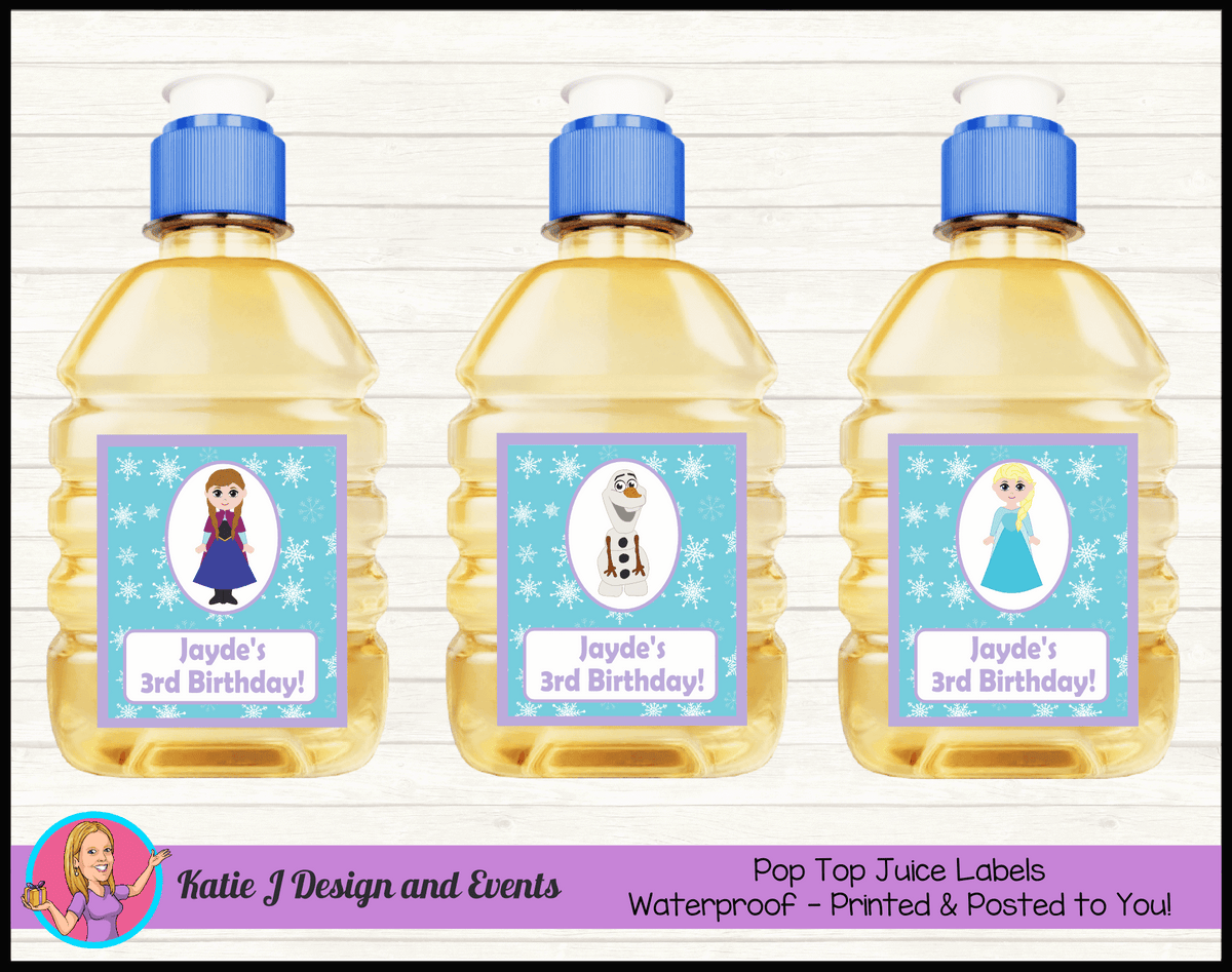 Personalised Little Frozen Birthday Party Pop Top Juice Labels