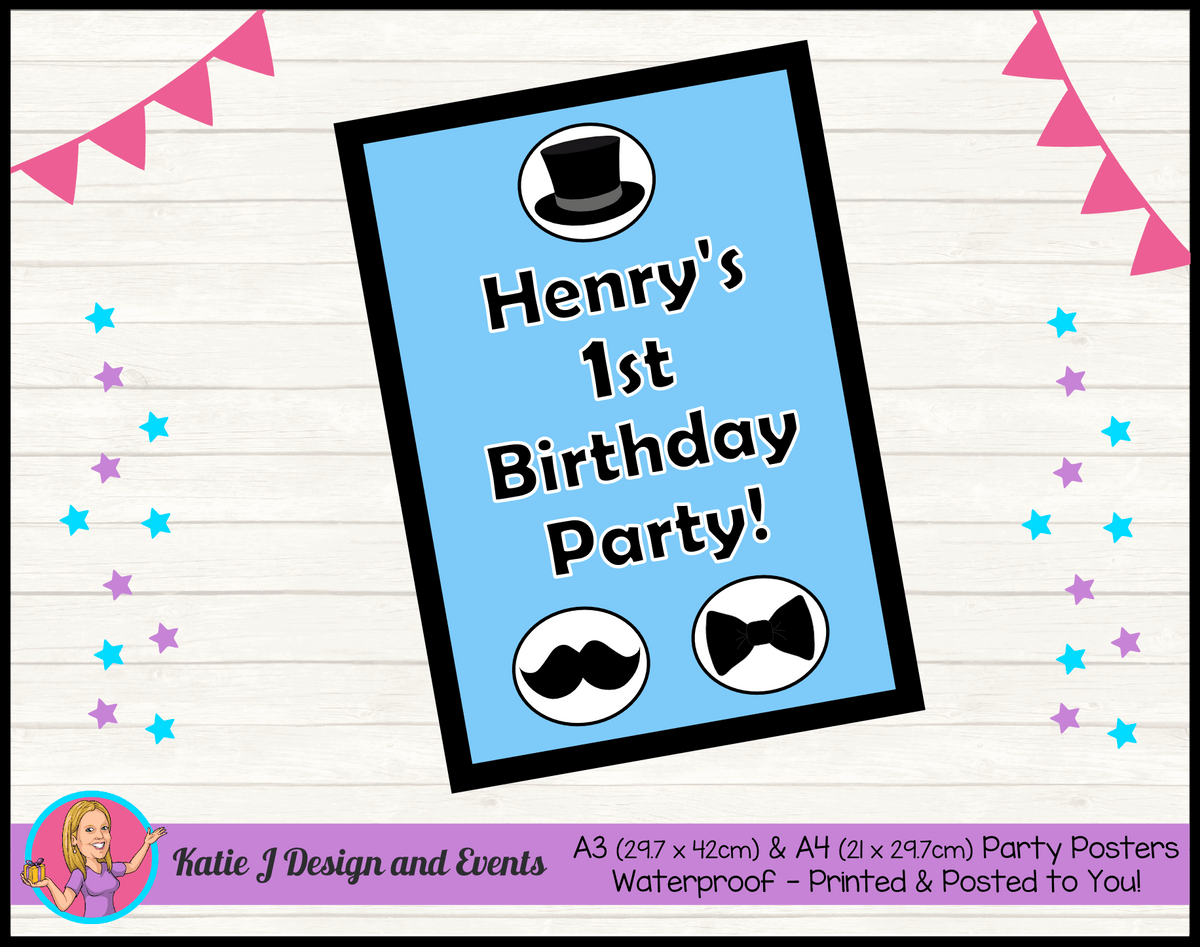 Personalised Little Man Birthday Party Poster