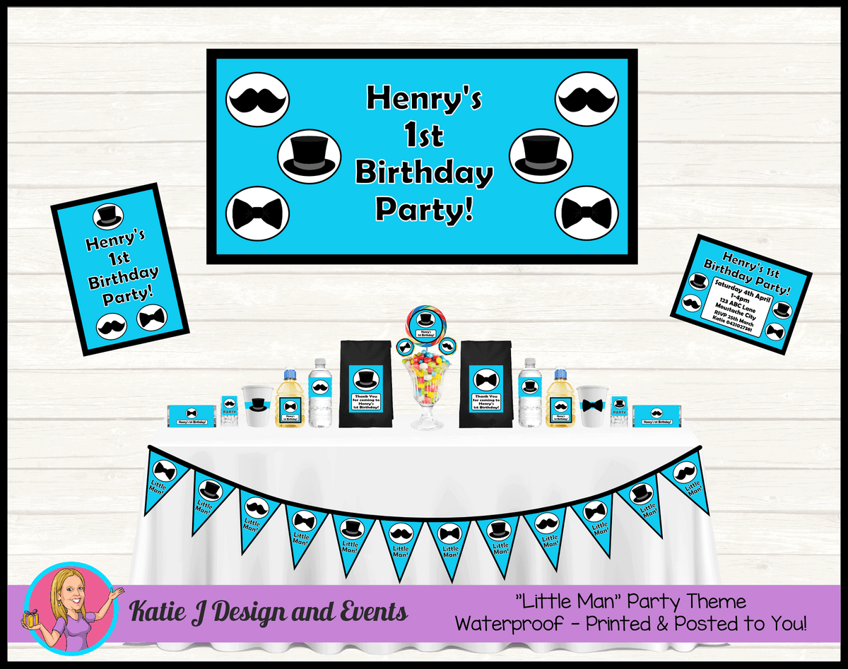 Personalised Aqua Blue Little Man Party Packs Decorations Supplies