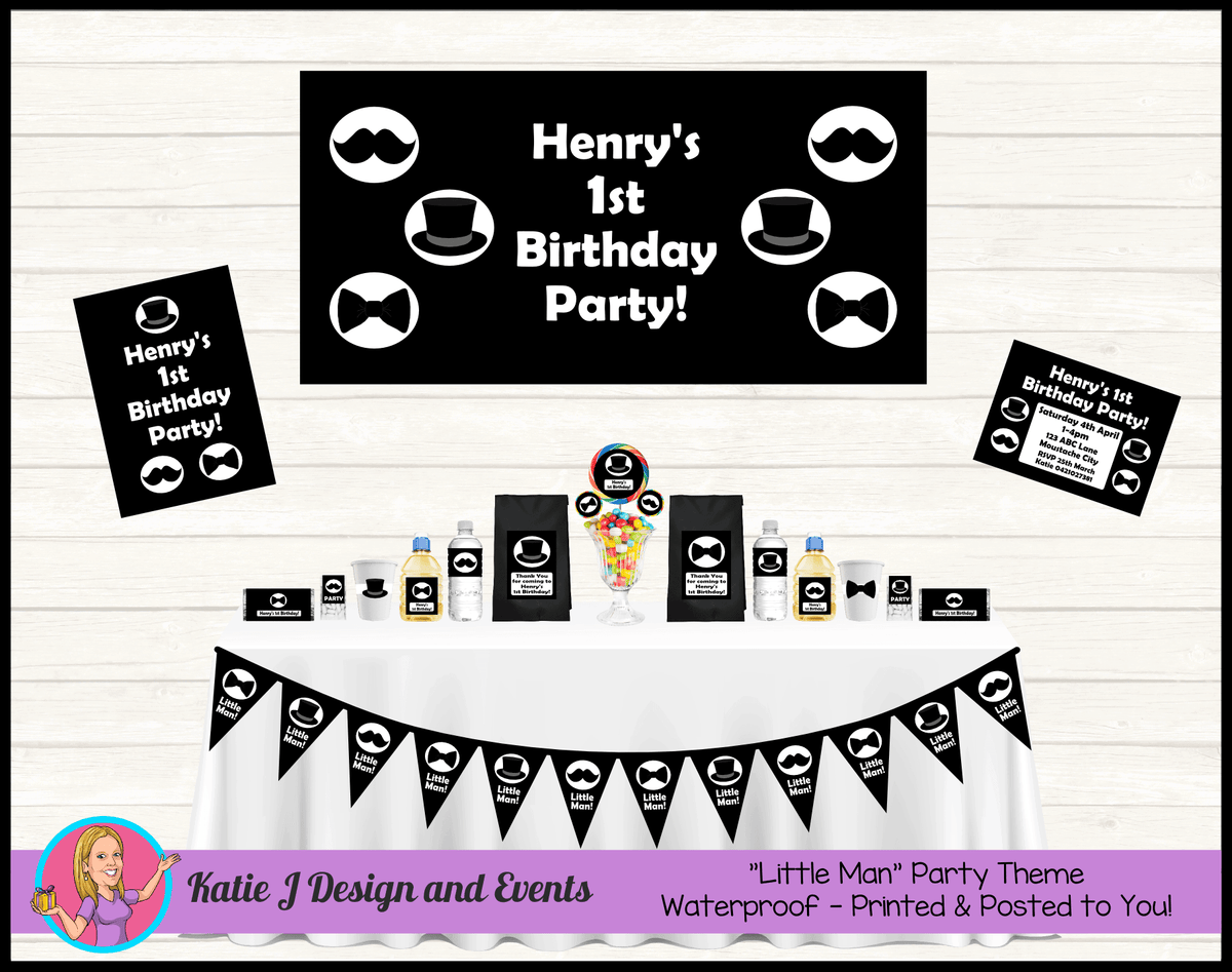 Personalised Black Little Man Party Packs Decorations Supplies