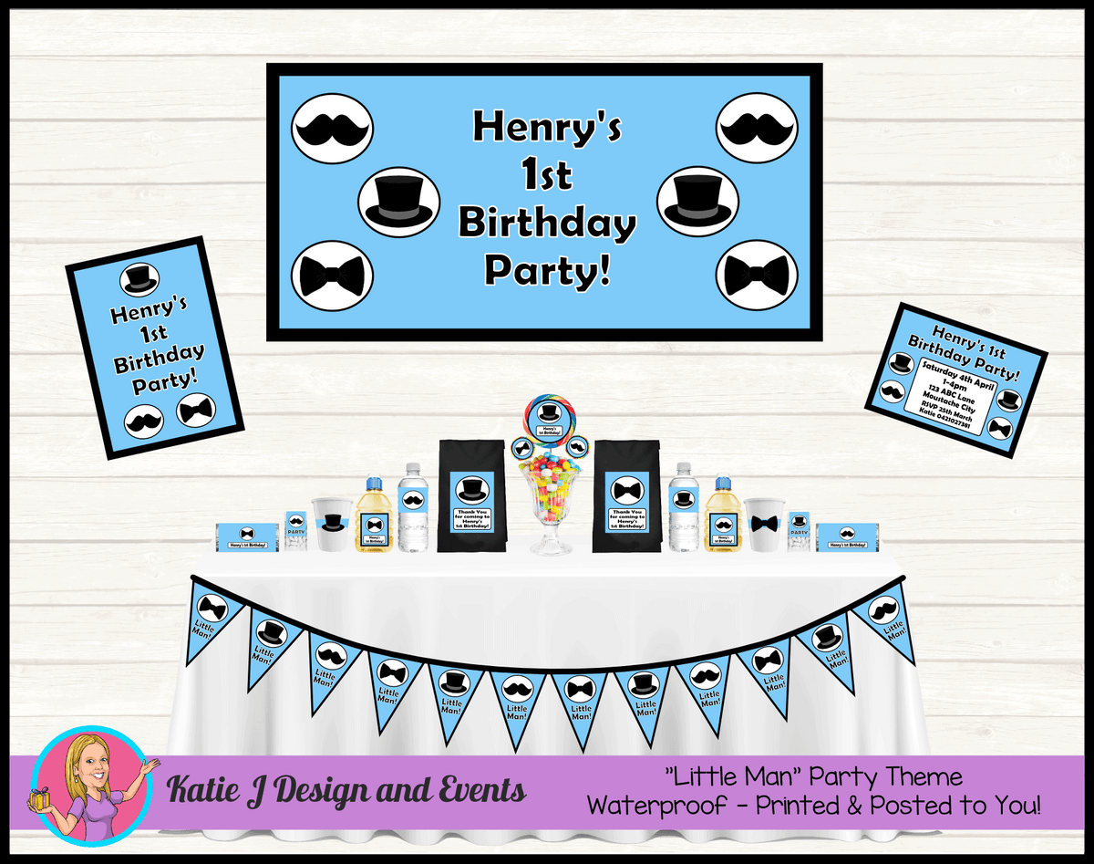 Personalised Light Blue Little Man Party Packs Decorations Supplies