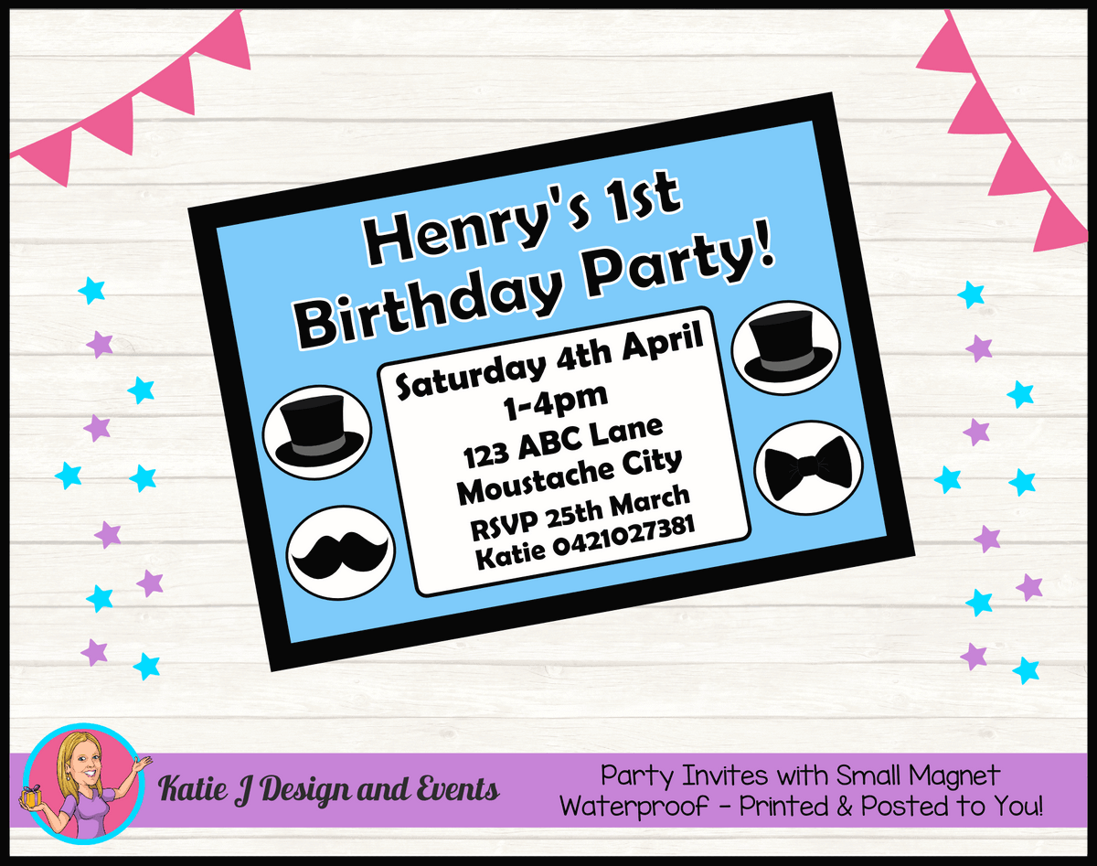 Personalised Little Man Birthday Party Invites Invitations