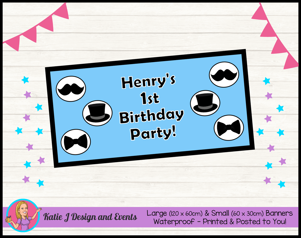 Personalised Little Man Birthday Party Banner