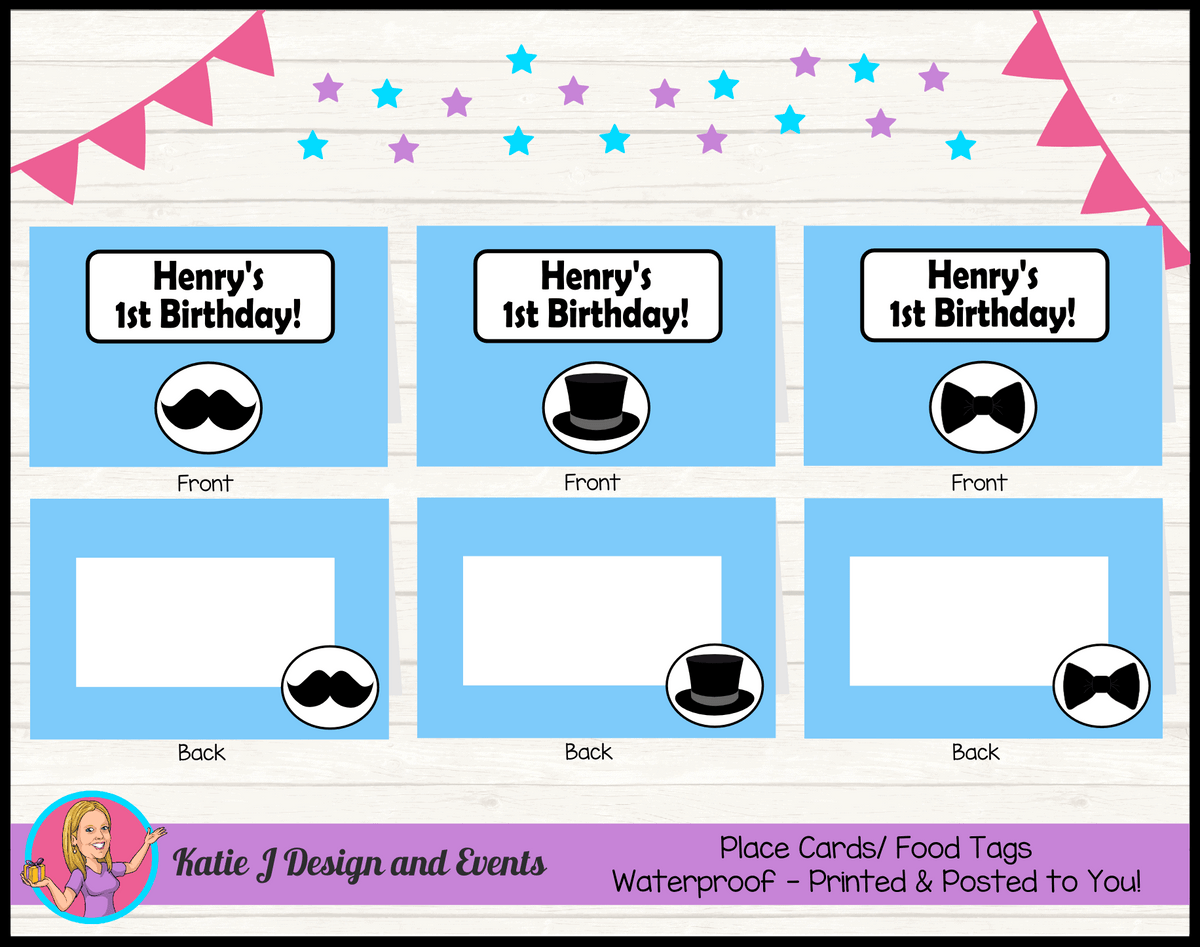 Personalised Little Man Party Place Cards