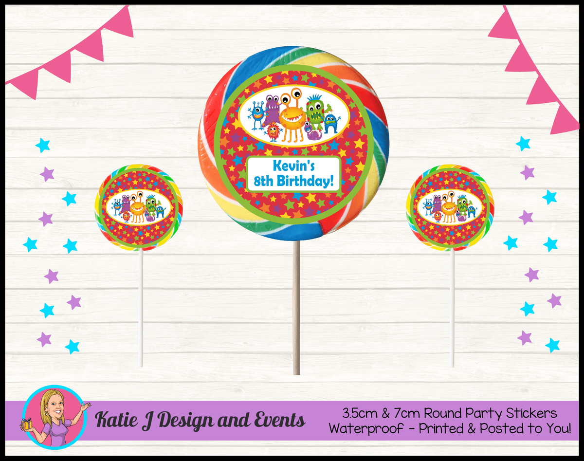 Personalised Little Monsters Party Round Lollipop Stickers