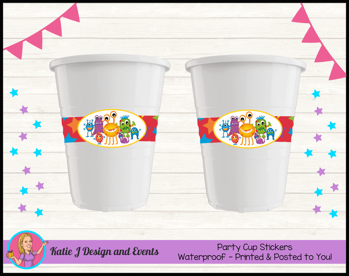 Personalised Little Monsters Party Cup Stickers Cups