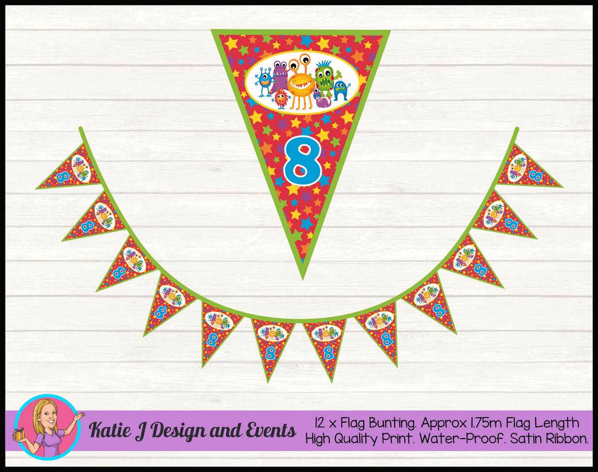 Personalised Little Monsters Birthday Party Flag Bunting