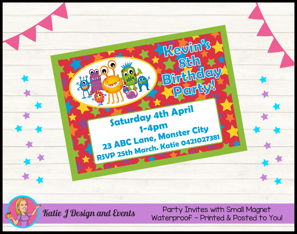 Personalised Little Monsters Birthday Party Invites Invitations