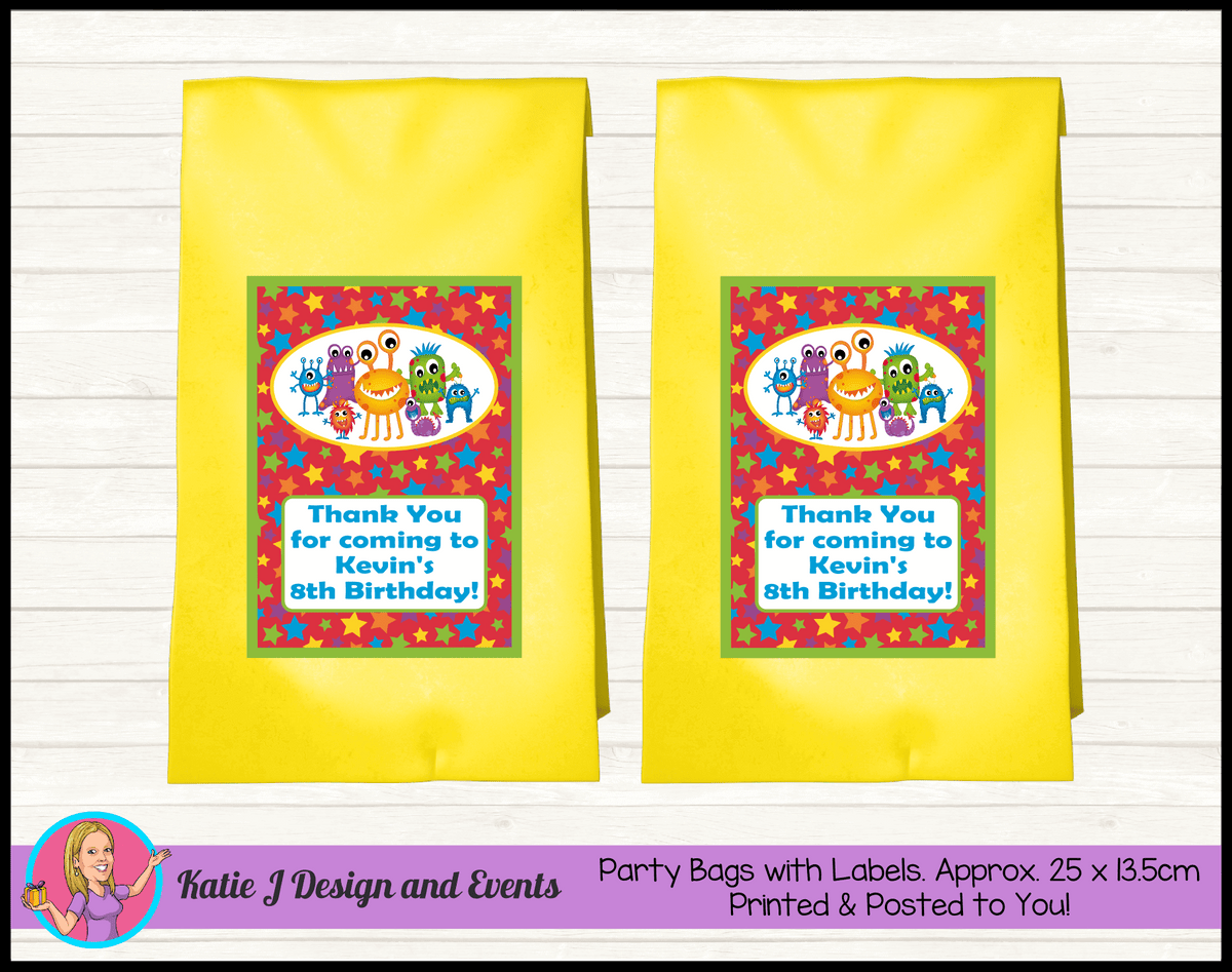 Personalised Little Monsters Birthday Party Loot Bags
