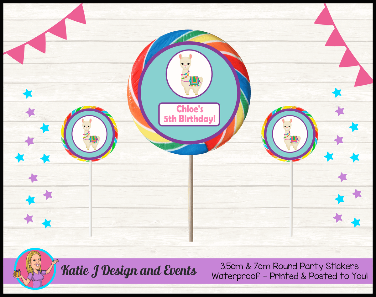 Personalised Girls Llama Round Lollipop Stickers