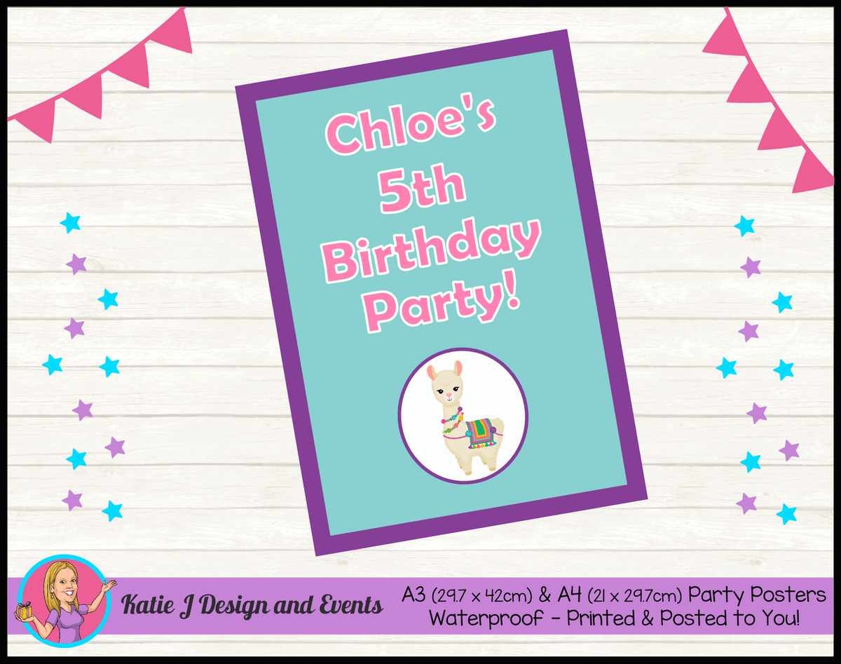 Personalised Girls Llama Birthday Party Poster