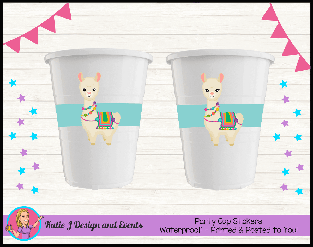 Personalised Girls Llama Party Cup Stickers Cups