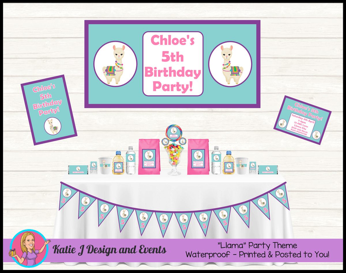 Personalised Purple Teal Llama Party Packs Decorations Supplies