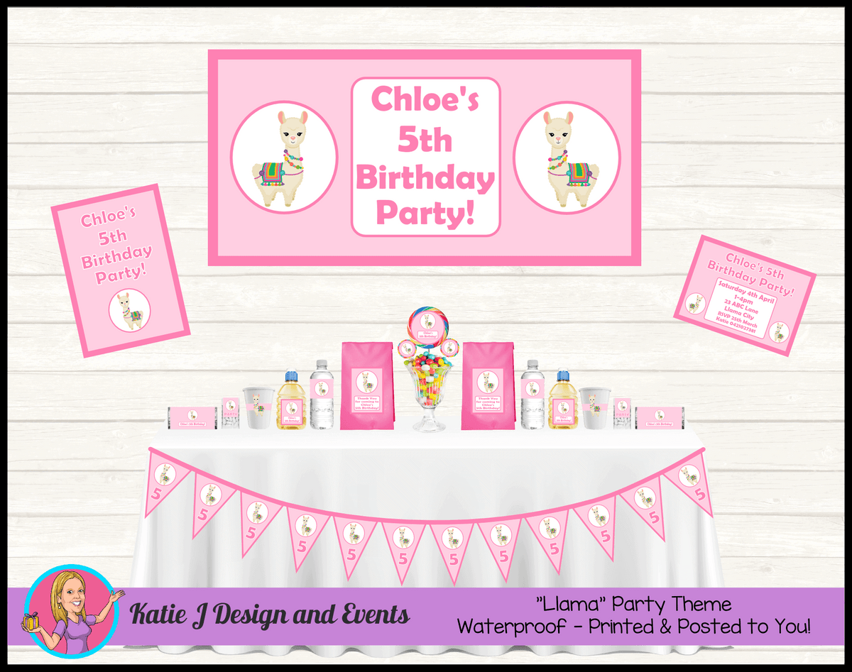 Personalised Girls Pink Llama Party Packs Decorations Supplies