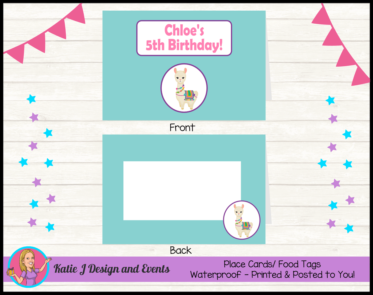 Personalised Girls Llama Party Place Cards