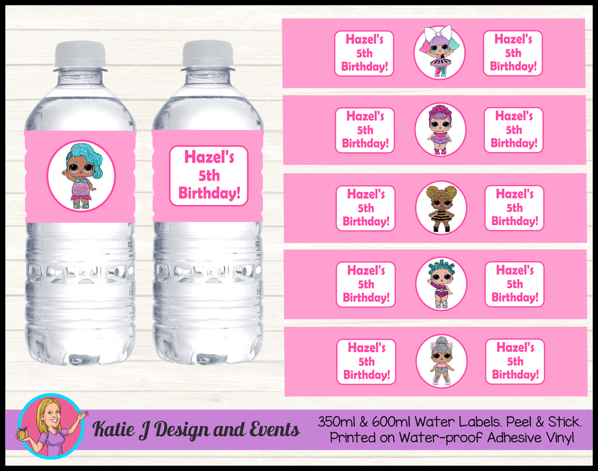 Personalised LOL Surprise Dolls Party Water Labels