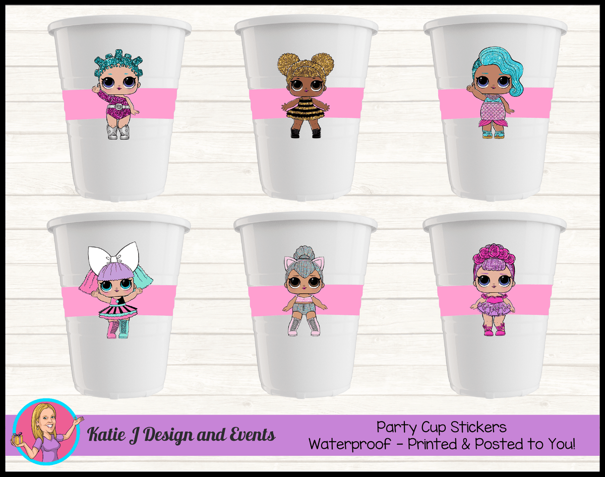 Personalised LOL Surprise Dolls Party Cup Stickers Cups