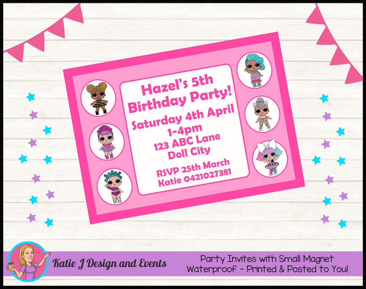 Personalised LOL Surprise Dolls Birthday Party Invites Invitations