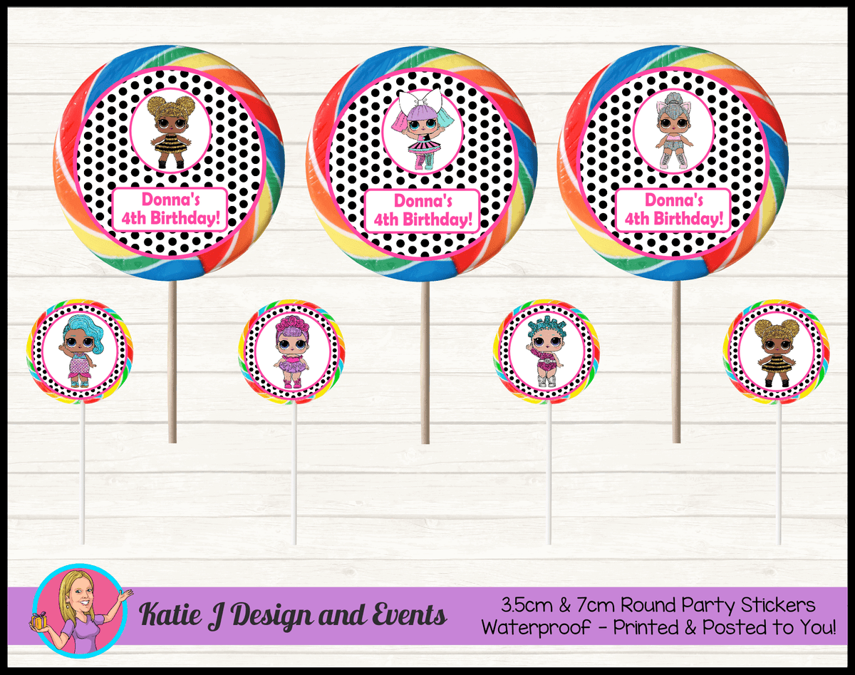 Personalised Polka Dot LOL Dolls Round Lollipop Stickers