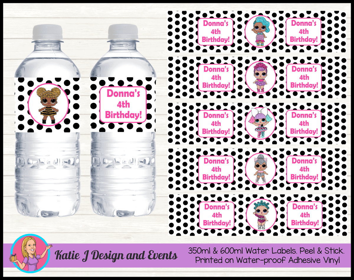 Personalised Polka Dot LOL Dolls Party Water Labels