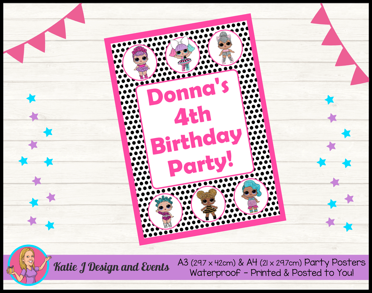 Personalised Polka Dot LOL Dolls Birthday Party Poster