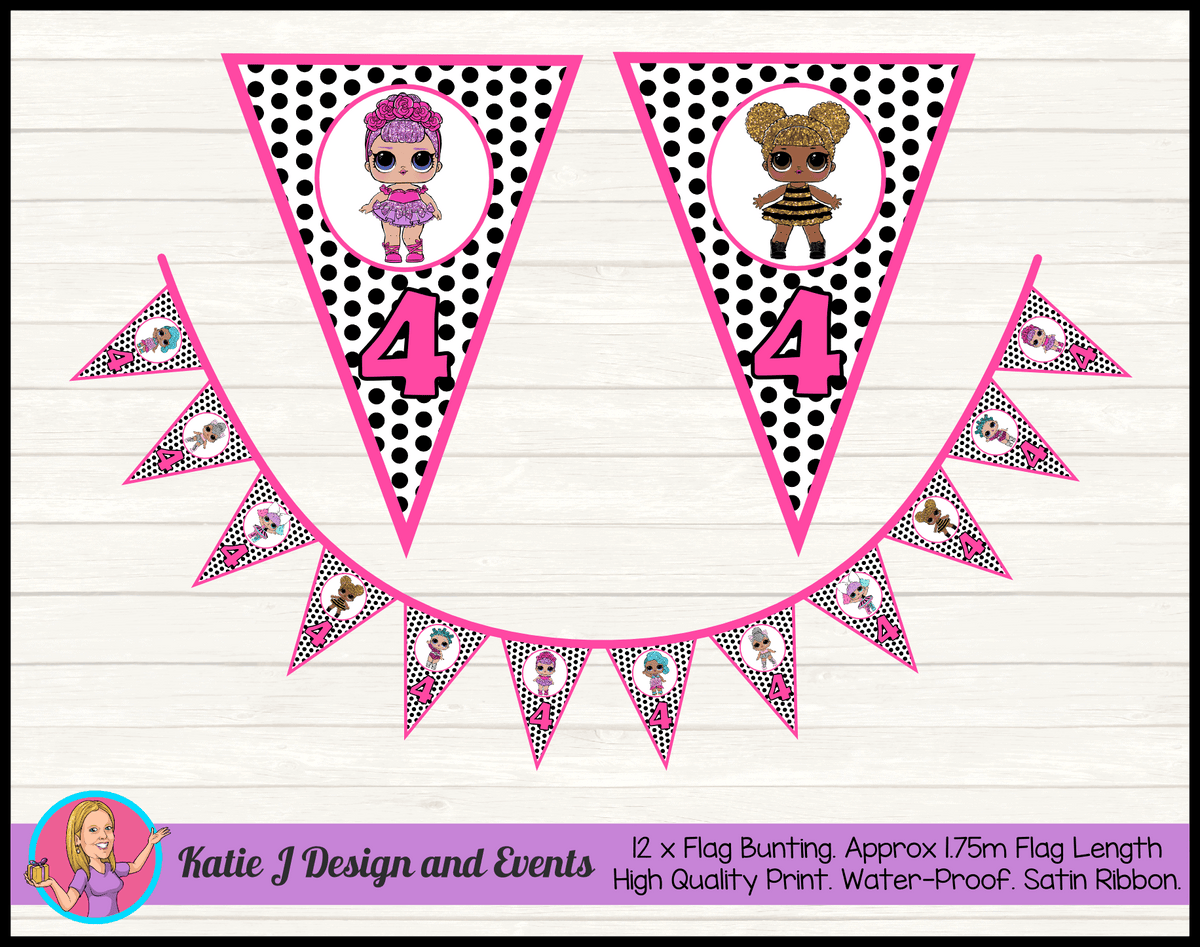 Personalised Polka Dot LOL Dolls Birthday Party Flag Bunting