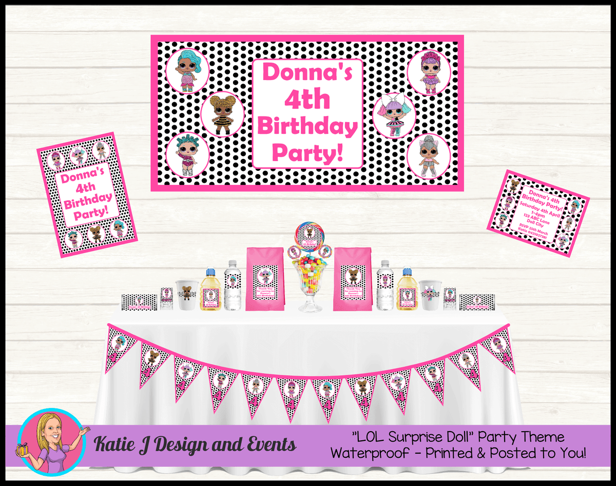 Personalised Polka Dot LOL Dolls Party Packs Decorations Supplies