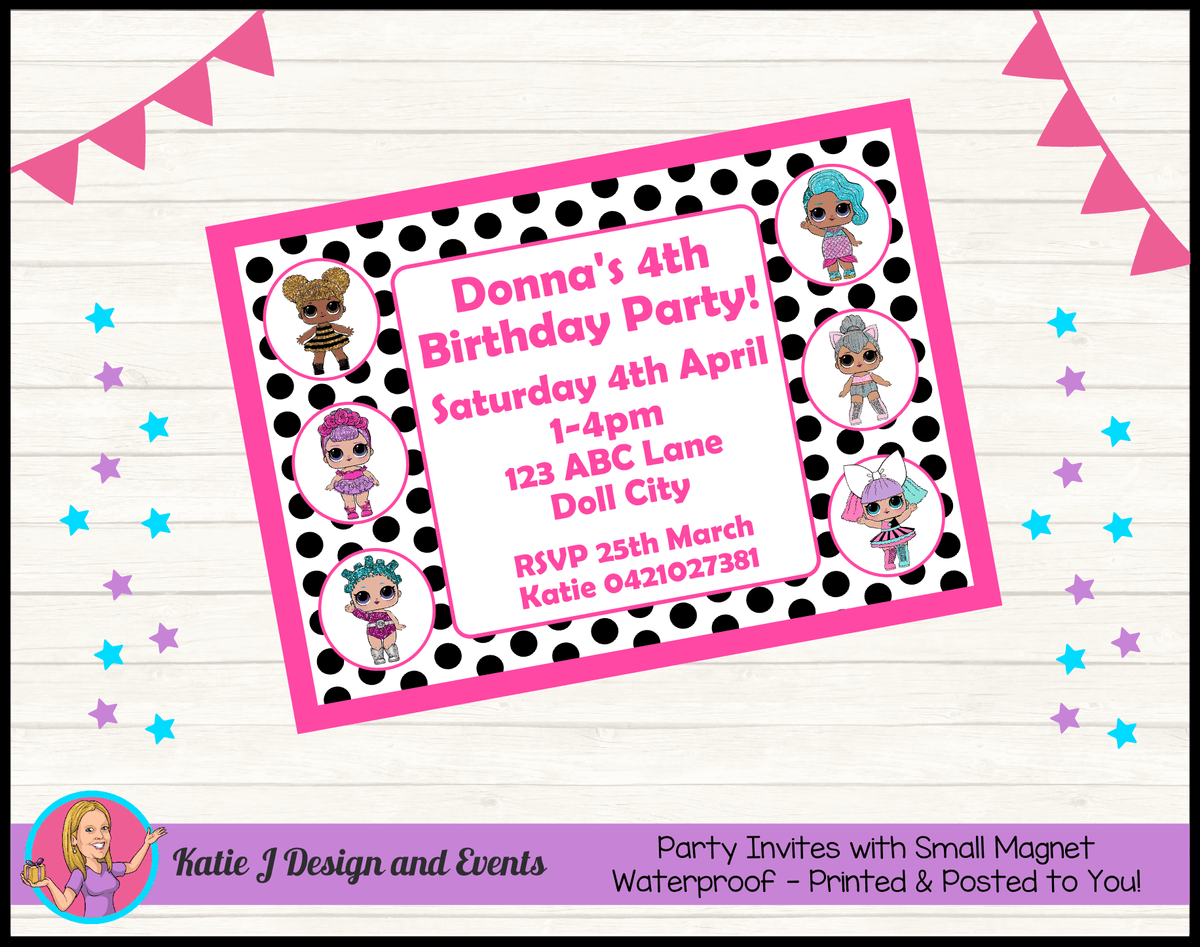 Personalised Polka Dot LOL Dolls Birthday Party Invites Invitations