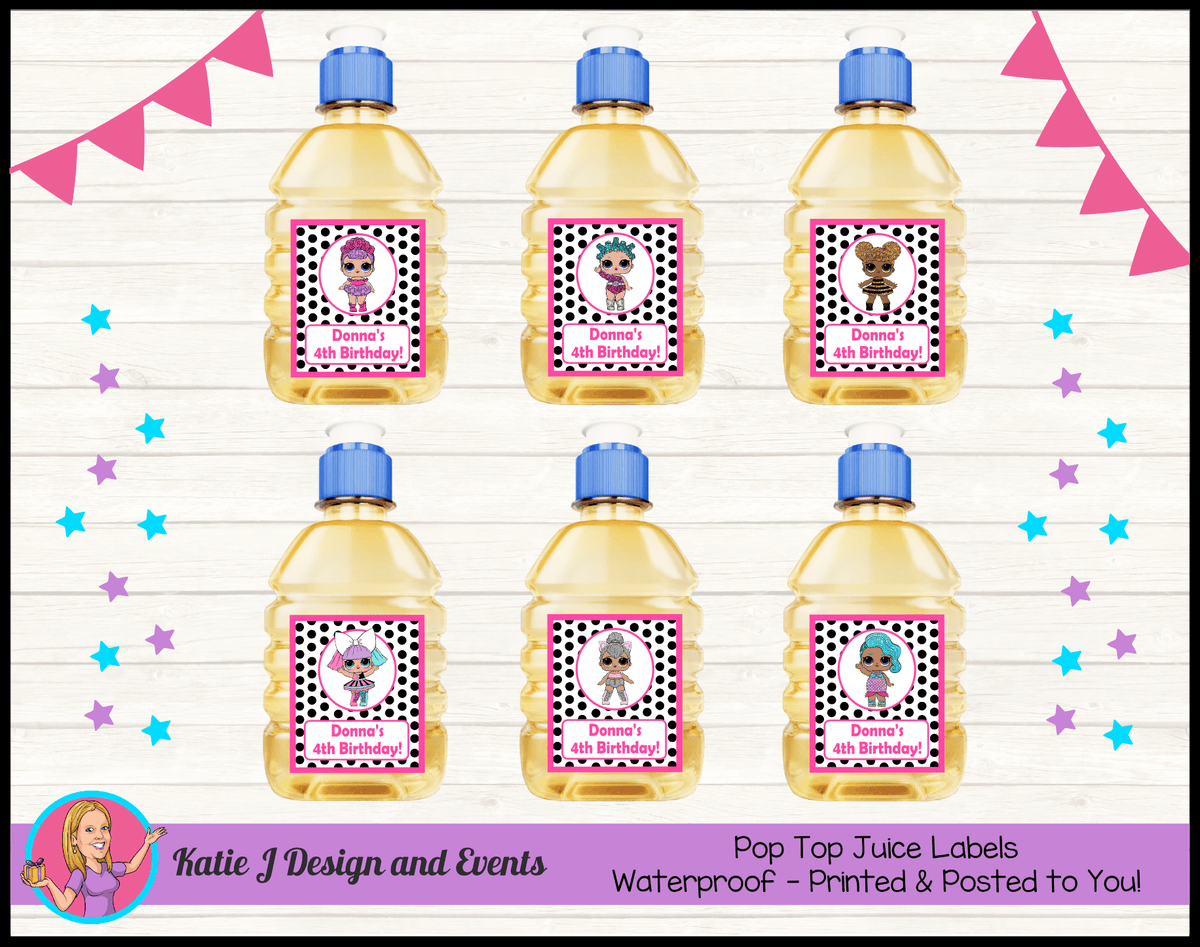 Personalised Polka Dot LOL Dolls Pop Top Juice Labels