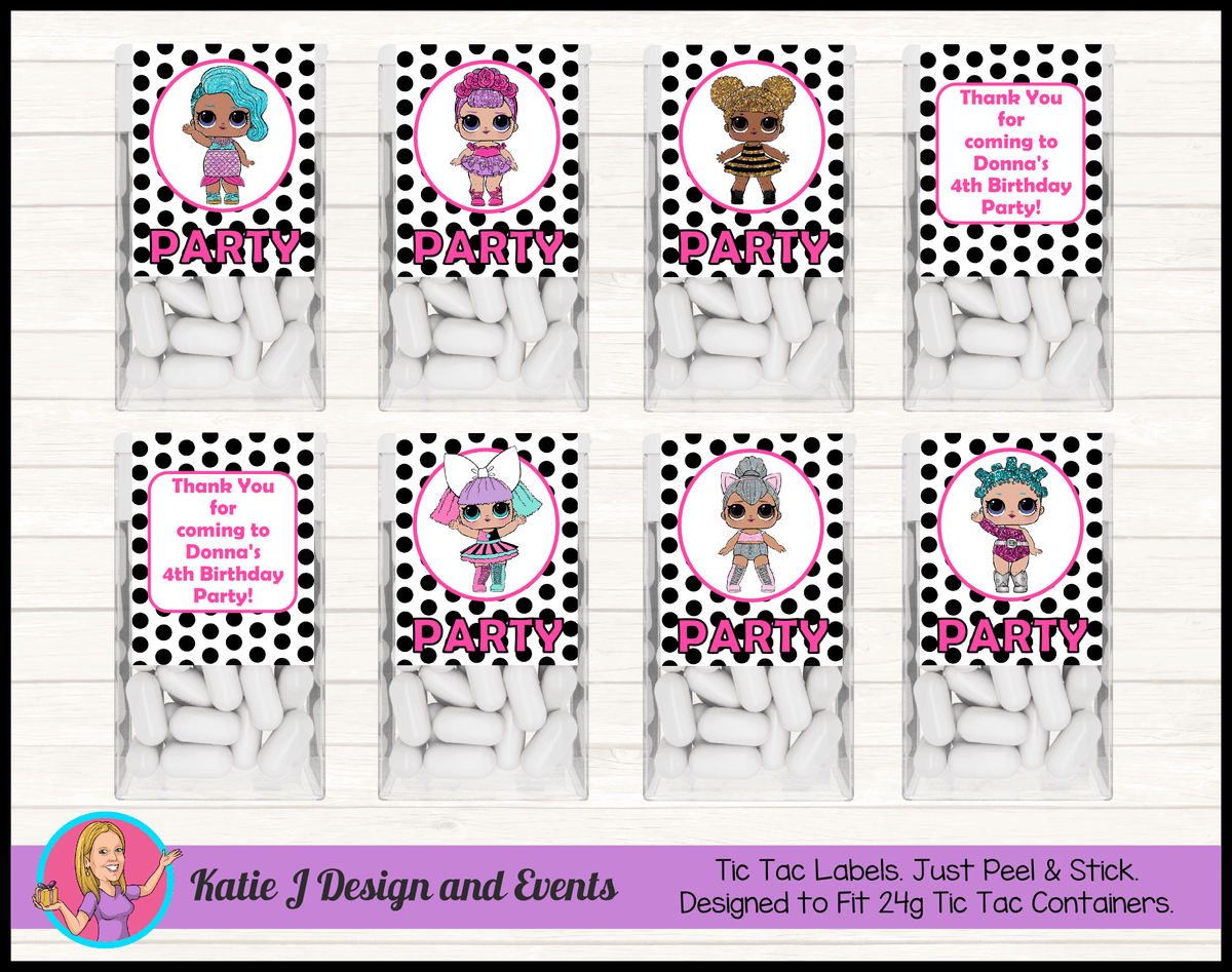 Personalised Polka Dot LOL Dolls Tic Tac Mint Labels
