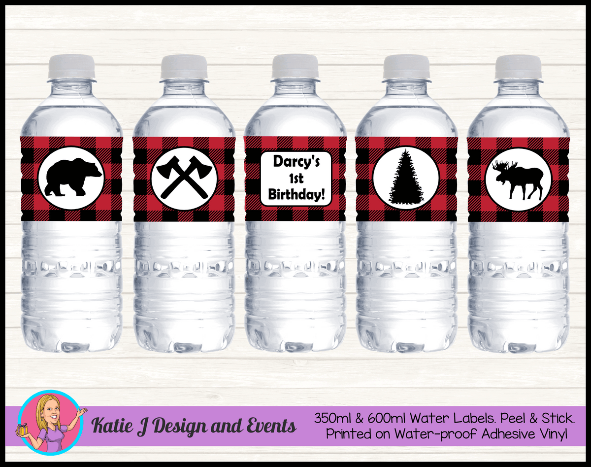 Personalised Red Black Lumberjack  Party Water Labels