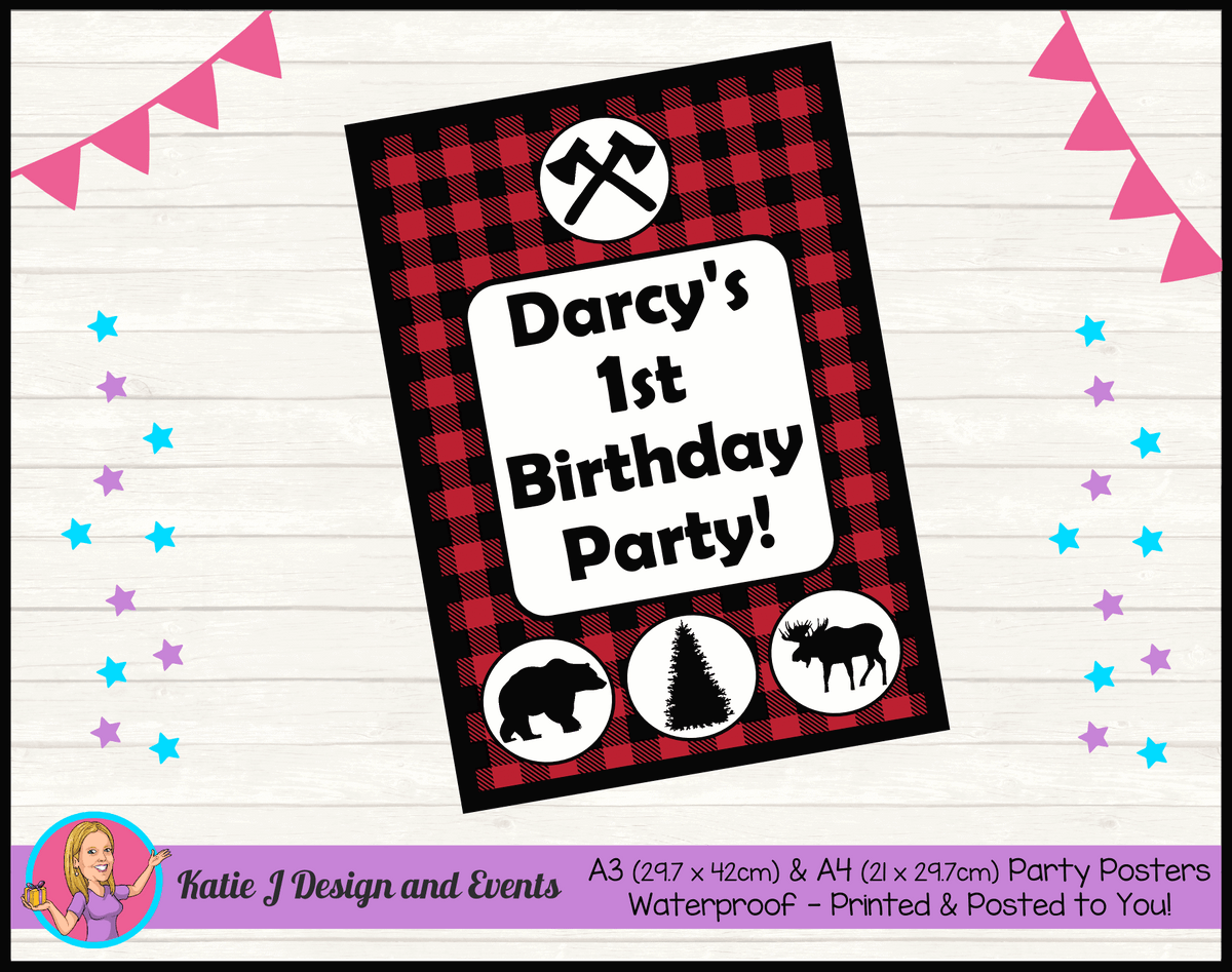 Personalised Red Black Lumberjack Birthday Party Poster