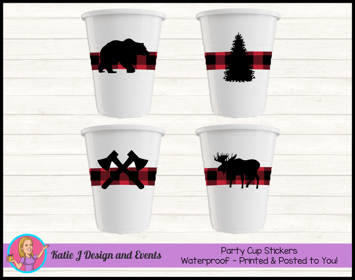 Personalised Red Black Lumberjack Party Cup Stickers Cups