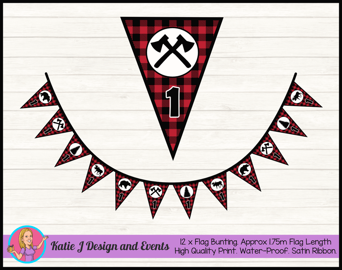 Personalised Red Black Lumberjack Birthday Party Flag Bunting