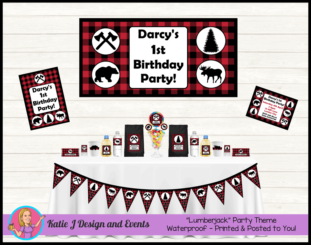 Personalised Red Black Lumberjack Party Packs Decorations Supplies