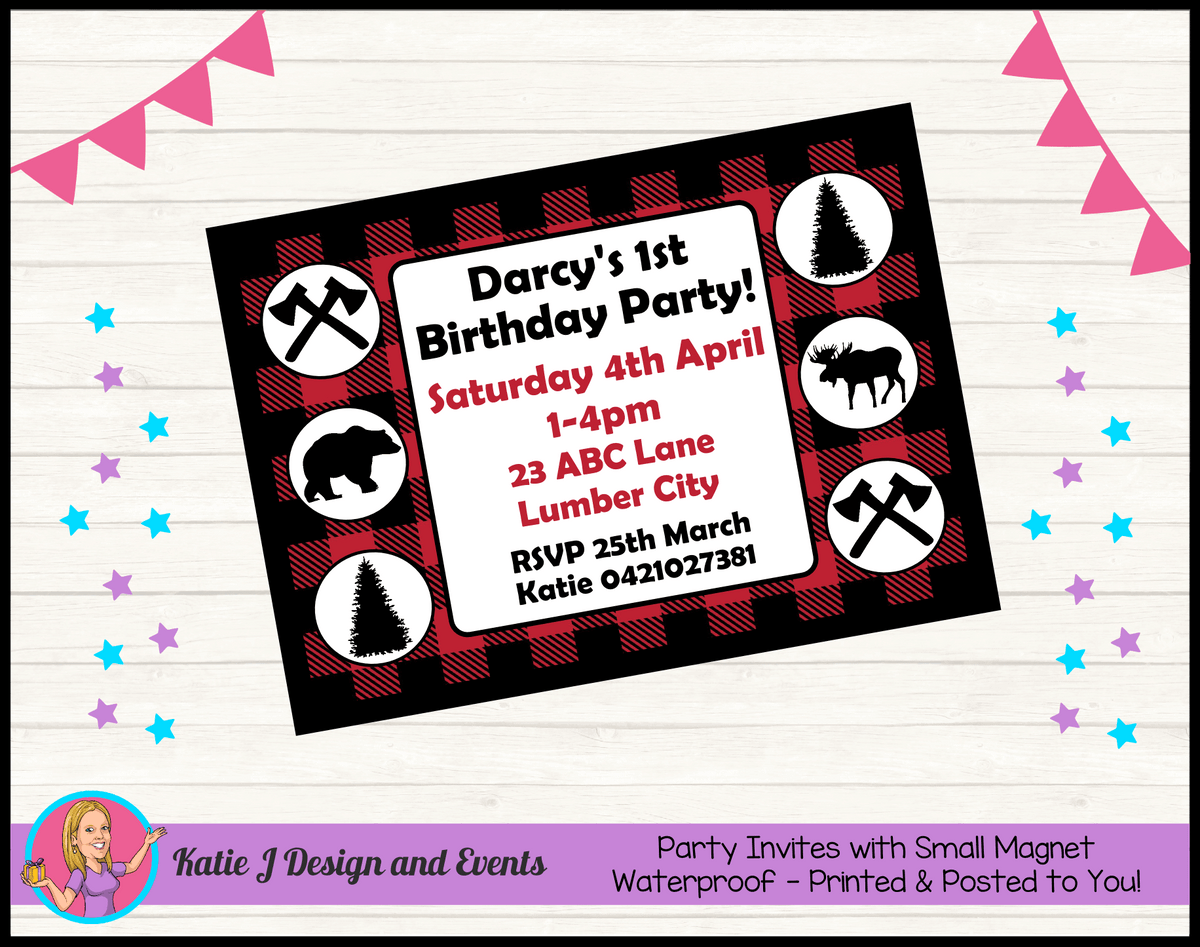 Personalised Red Black Lumberjack Birthday Party Invites Invitations