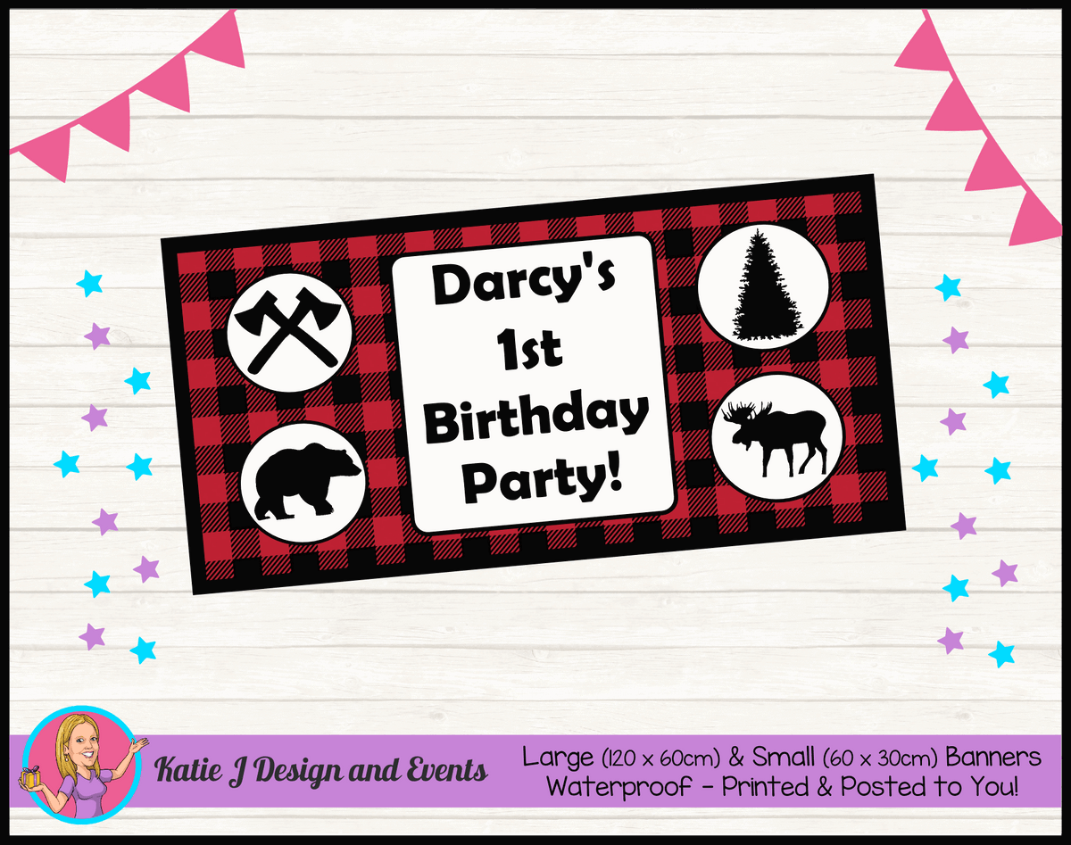 Personalised Red Black Lumberjack Birthday Party Banner