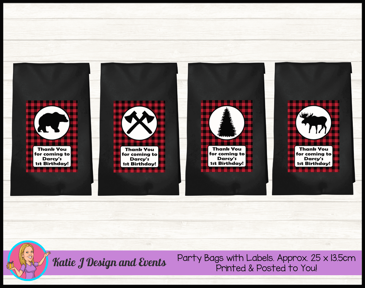 Personalised Red Black Lumberjack Birthday Party Loot Bags