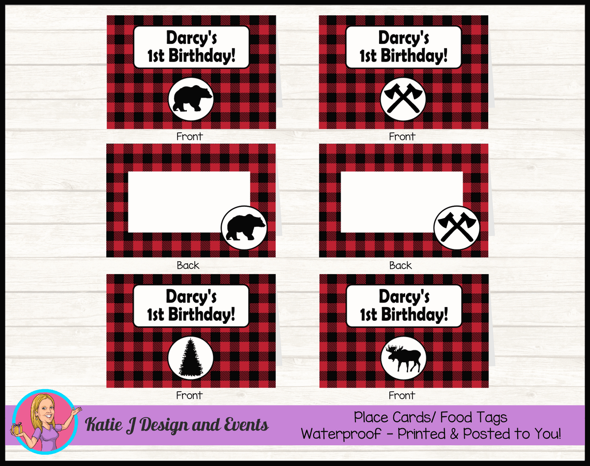 Personalised Red Black Lumberjack Party Place Cards