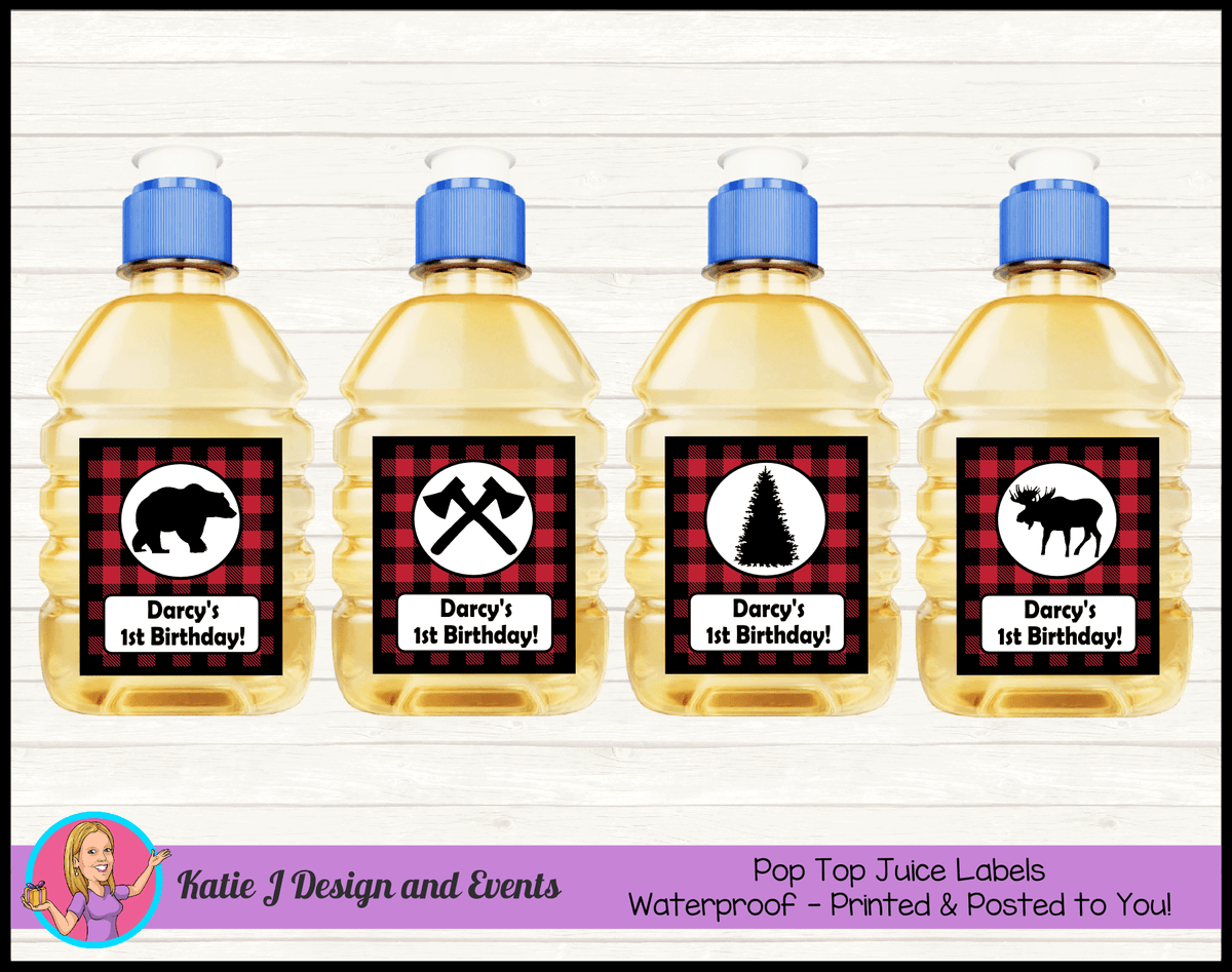 Personalised Red Black Lumberjack Pop Top Juice Labels