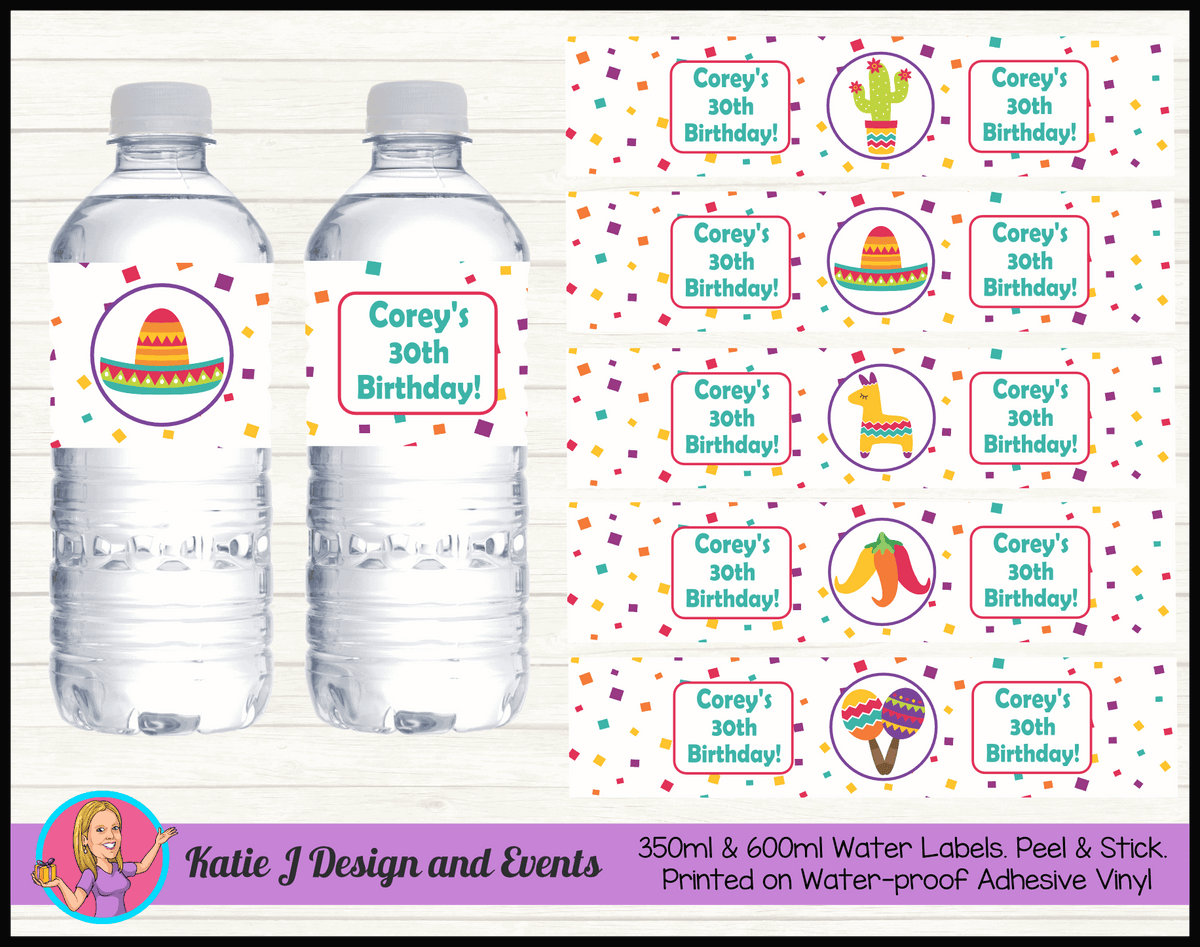 Personalised Mexican Fiesta Party Water Labels