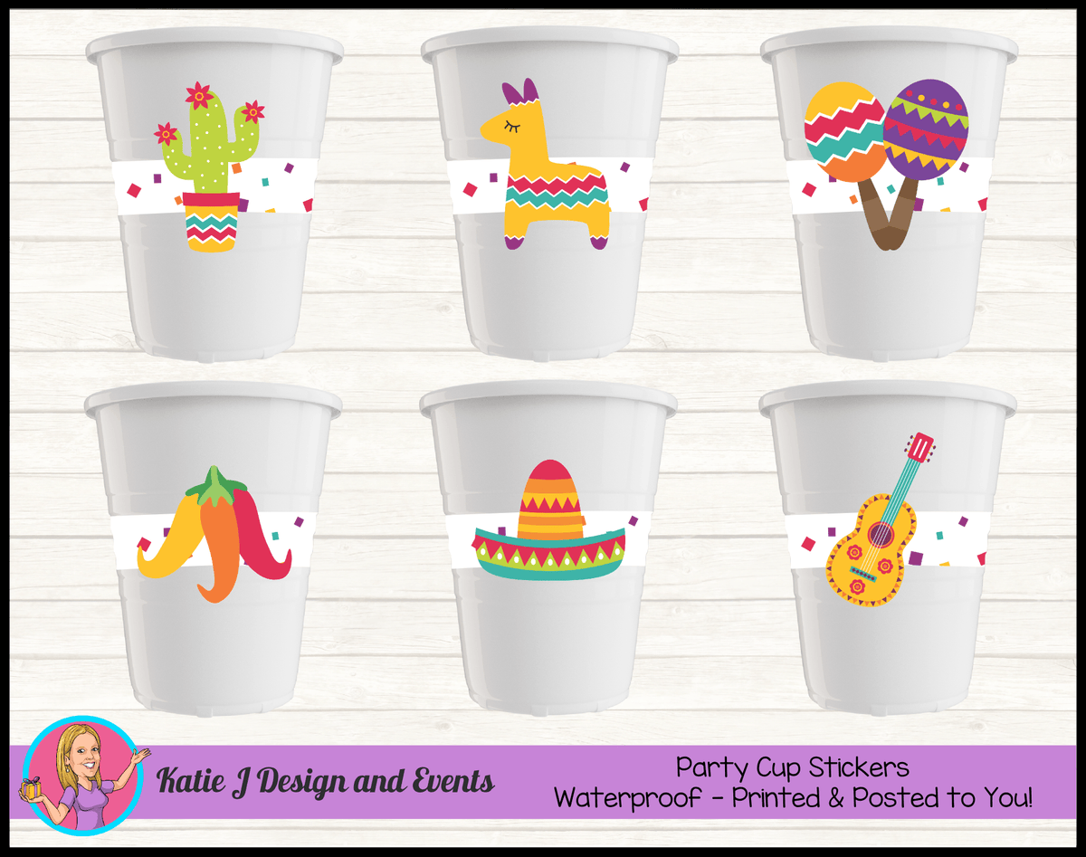 Personalised Mexican Fiesta Party Cup Stickers Cups