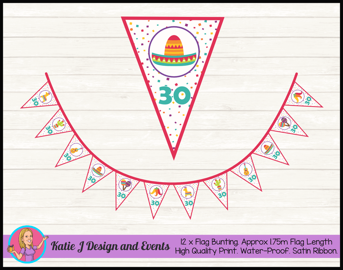 Personalised Mexican Fiesta Birthday Party Flag Bunting