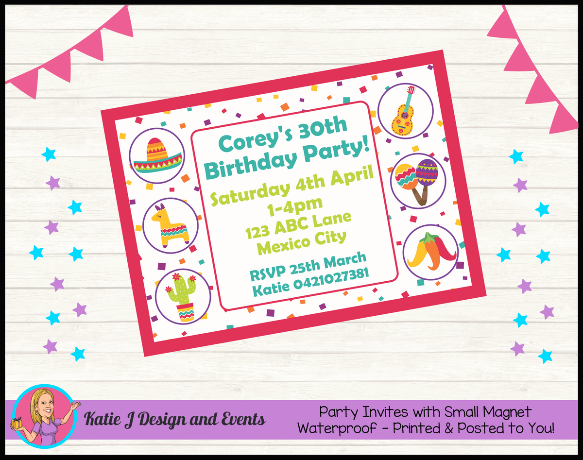 Personalised Mexican Fiesta Birthday Party Invites Invitations